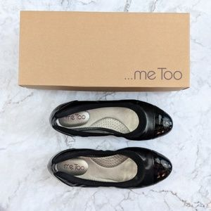 Me Too | Black Leather Elastic Ballet Flats 7.5